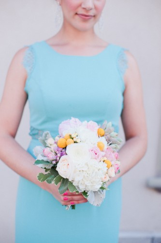 craspedia bouquet, mint bridesmaid